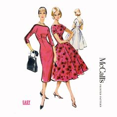 1950s Fitted Midriff Cocktail Dress Pattern McCalls 4597 34 Bust Womens Vintage Sewing Pattern Fit and Flare or Sheath Dress Kimono Sleeves on Etsy, $58.00
