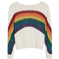 Women's Marc Jacobs Rainbow Cotton Blend Sweater ($295) ❤ liked on Polyvore featuring tops, sweaters, sparkle sweater, striped tops, rainbow striped sweater, marc jacobs and stripe sweater