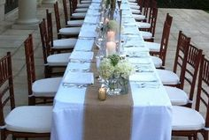 Rustic Burlap Table Runner Wedding Table by NorthCountryComforts