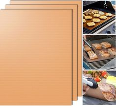 Gold Grill Mat Set of 3- 100% Non-stick BBQ Grill & Baking Mats Bbq Grill, Grilling, Gold Grill, Baking Tools, Baking Sheet, Pastries, Home Kitchens, Kitchen Dining, Sweet Home
