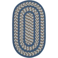 Safavieh Hand-woven Reversible Braided Ivory/ Blue Rug (2'6 x 4' Oval) (BRD401A-24OV), Size 2' x 2'