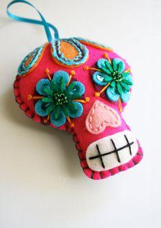 Large Sugar Skull Ornament - Day of the Dead - Dia de los Muertos- Mexican Folk Art. $40.00, via Etsy.
