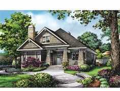 Fireplaces Indoors and Out (HWBDO69179) | Bungalow House Plan from BuilderHousePlans.com