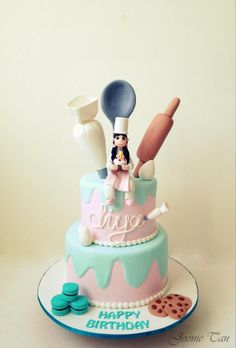 Baking theme cake - right up my alley. Maybe my dear sister in law will bake me this cake for my birthday! Unique Cakes, Creative Cakes, Chef Cake, Decoration Patisserie, Baker Cake, Bolo Cake, Baking Party, Cake Baking, Novelty Cakes