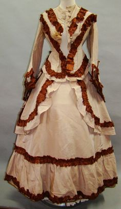 So Sweet 1870's Outfit.  Adorable 3 piece ensemble from the first bustle period, probably from the dates 1869 - 1874. All the major pieces are trimmed with a ruffle of self fabric, which appears to be silk faille.