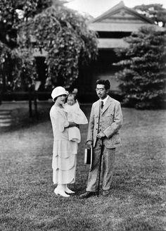 Crown Prince Hirohito and Princess Nagako with daughter Shigeko
