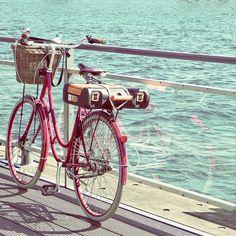 vintage pink bike down by the sea www.thailandlifestyleproperties.com www.rayongthailandproperties.com.au