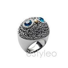 Fossil Brand Owl Ring Glitz Pave Crystals Statement Silver