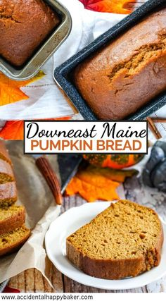 Downeast Maine Pumpkin Bread – Accidental Happy Baker Downeast Maine Pumpkin Bread is tender, sweet and moist with a lovely pumpkin flavor highlighted by warm earthy spices. Downeast Maine Pumpkin Bread, Moist Pumpkin Bread, Pumpkin Recipes, Fall Recipes, Köstliche Desserts, Delicious Desserts, Dessert Recipes, Breakfast Recipes, Food Recipes
