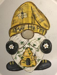 Bee Crafts, Rock Crafts, Gnome Paint, Bee Art, Diy Canvas Art, Bee Happy, Tole Painting, Mason Jar Crafts, Clipart