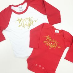 Merry and Bright - Raglan or Onesie - Christmas Shirt - Holiday Shirt by DandylionsBoutique on Etsy
