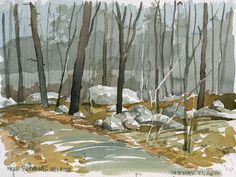 Edward Huff,  browing-mill-pond-12-21-16 | Looking through the trees at the frozen pond across a field of large stones - 9x7 inches