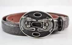 Barry Kieselstein Cord Sterling Silver Double Alligator Crocodile Belt SZ 2 #BarryKieselsteinCord