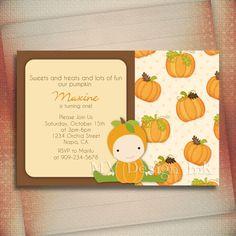 Little Pumpkin Birthday or Baby Shower Invitation For Girl or Boy-Digital File You Print. $13.00, via Etsy.