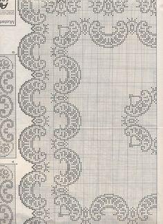 Crochet Home, Crochet Crafts, Knit Crochet, Cross Stitch Patterns, Crochet Patterns, Fillet Crochet, Crochet Tablecloth, Bargello, Blackwork