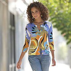Bright Print Sweater Cardigan