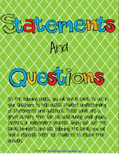 Statements and Questions Task Card Activity and Student Response Sheet from Teaching in Organized Chaos. Free for One Week! Speech And Language, Language Arts, Types Of Sentences, Common Core Reading, Guided Reading, Task Cards, Teacher Newsletter, Second Grade, Small Groups
