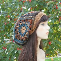Boho Hat Womens Hats Granny Square Hat Slouchy Beanie by foreverandrea,