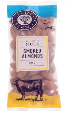 Our new Cecilia's Farm Smoked Almonds has an of a Simmentaler cow on. Roasted Nuts, Dried Fruit, Almonds, Natural Oils, Cow, Packaging, Stuffed Peppers, Illustration, Illustrations