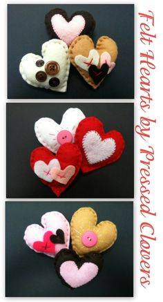 Pinned It Did It - Felt Heart Valentine Ornaments with buttons, hearts, etc. So cute and So EASY! Spead the love!   Find more at Pressed Clovers blog.