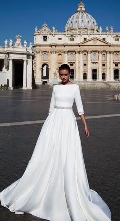 2018 White Wedding Dresses with Half Sleeve Elegant Boat Neck A line Bridal Wedding Gowns Backless #2018 #weddings #2018wedding #weddingdress #bridalgown #fashion #simple #satin #weddingtrends