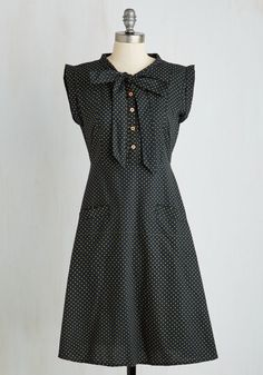 Carry On with Confidence Dress in Dots. Stay stylishly energized in this black dress by Mata Traders. #black #modcloth