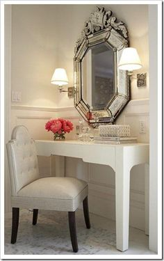 Dressing room- Vanity desk! Mirror! Chair!  Sconces! Moulding! Flowers!  Love It All!