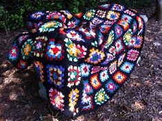 Granny Square Crocheted Afghan