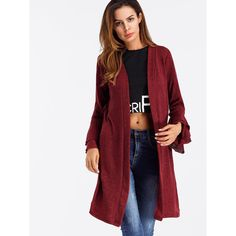 SheIn(sheinside) Tiered Frill Sleeve Marled Knit Cardigan ($18) ❤ liked on Polyvore featuring tops, cardigans, long knit cardigan, short-sleeve cardigan, red top, red knit cardigan and long cardi