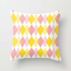 Pillow Cover, Argyle Pillow, Throw Pillow, Yellow, Pink, Modern Decor, Nursery Room Pillow, 16x16 Pillow, Home Decor - Girl's Pool Party on Etsy, 27,00 €