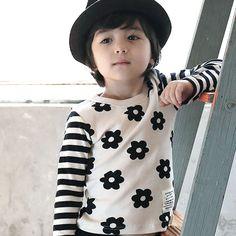 Green Tomato 花柄ボーダーロングTシャツ (アイボリー) - 韓国子供服 通販 リズハピネス ~ Liz Happiness [キッズ服/ベビー服/男の子/女の子]
