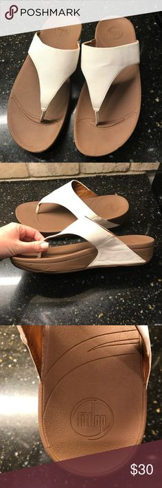 5ec6659eb009ba FitFlop Sandals Excellent like new condition size 11 white FitFlop Sandals!  See photos for details ) Fitflop Shoes Sandals