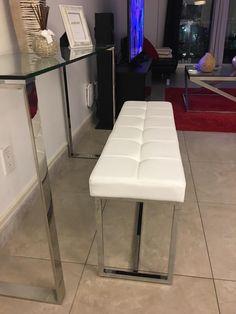amazoncom homcom 39u201d tufted pu leather chrome base entryway bench