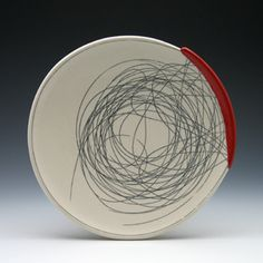 """Plate, 10"""", thrown and altered porcelain with inlaid stain…   Flickr"""