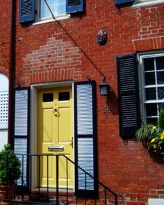 7 Best Red Brick Yellow Door Images Yellow Doors Red