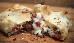 Venison salami calzones with fontina cheese