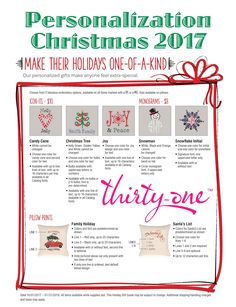 """Make your gifts one of a kind... Thirty-One Christmas 2017 PERSONALIZATION… Candy Cane Heart, Christmas Tree Icon-It's… JOY, Snowman Monogram, Snowflake Initial… Family Holiday and Santa's list for Pillow personalization. Offering a variety of personalization options is what sets Thirty-One apart. Personalization turns a bag or tote into a keepsake – it's what puts the """"Gifts"""" in Thirty-One Gifts. Check out all the personalization and Icon-It's options at MyThirtyOne.com/PiaDavis"""
