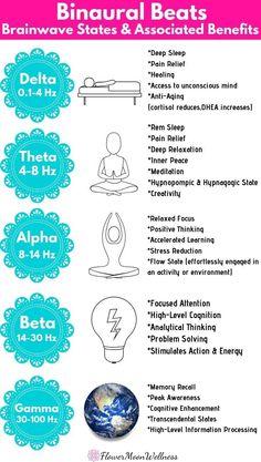 binaural beats brainwave states and benefits Reiki, Meditation Benefits, Yoga Meditation, Spiritual Meditation, Types Of Meditation, Chakras, Solfeggio Frequencies, Spirit Science, Brain Science
