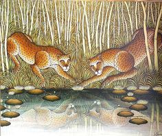 "Gustavo Novoa - ""Lotus Secret"" Leopards At River Edge In Jungle at 1stdibs"
