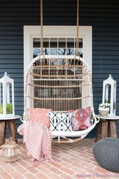 Our Fun & Colorful Bohemian Spring Porch Update Reveal...  dark-blue-gray-craftsman-exterior-paint-home-front-porch-decor-ideas-styling-outdoor-furniture-rattan-swing-lanterns