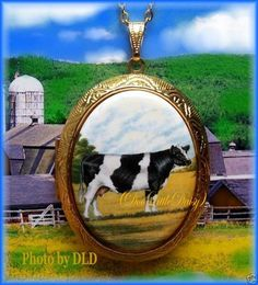 "Porcelain ""Black White Cow"" Cameo Locket Necklace 
