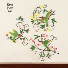 Collections Etc Hummingbird Scrolling Vines Wall Art - Set of Green Metal Flower Wall Art, Outdoor Metal Wall Art, Metal Tree Wall Art, Metal Flowers, Hanging Wall Art, Floral Bedspread, Affordable Wall Art, Collections Etc, Vine Wall