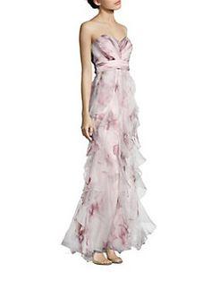 Badgley Mischka - Strapless Ruffled Silk Gown