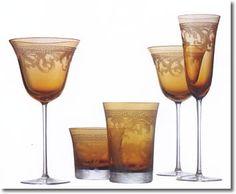 amber glassware | Versace Arabesque Amber Stemware