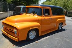 Ford F-100 Extended Passenger Van 1956 Orange For Sale. 1956 FORD F100 PANEL TRUCK CUSTOM HARLEY DAVIDSON YELLOW 429 MERCURY V8 MUST SEE Hot Rod Trucks, Cool Trucks, Pickup Trucks, Cool Cars, 56 Ford Truck, 1956 Ford F100, Day Van, Panel Truck, Ford F Series