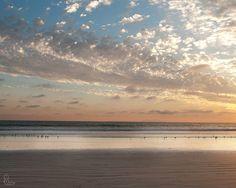 Sunset, Beach photography, Seascape, Landscape, Nature, Orange, White, Blue, Pacific ocean, Bedroom decor, Cottage chic, Fine art, Summer