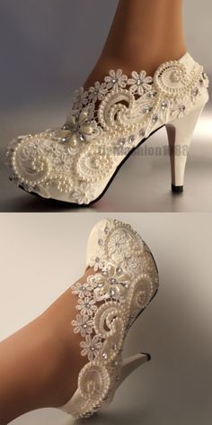 Wedding Shoes And Bridal Shoes: Women Heel White Ivory Lace Crystal Pearls Wedding Shoes Pumps Bride Sweet 11Cm BUY IT NOW ONLY: $43.99