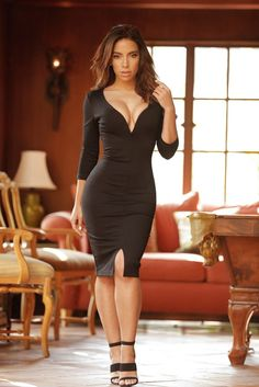Sexy Deep V Neck Cutout Back Slit Hem 3/4 Sleeve Women's Bodycon Midi Black Dress