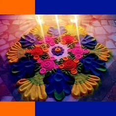 Colourful Rangoli with Solid Dots & Tools - Diwali 2020 Happy Diwali, 4th Of July Wreath, Dots, Wreaths, Color, Stitches, Door Wreaths, Colour, Deco Mesh Wreaths