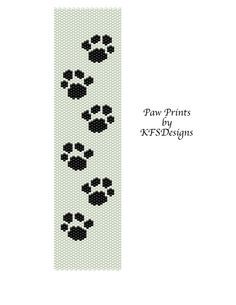 Peyote Bracelet Pattern - Paw Prints (Buy 2 Patterns - get a 3rd. pattern FREE)